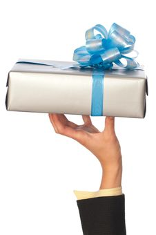 Free Grey Box With Blue Bow As A Gift Royalty Free Stock Images - 20840649