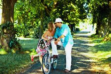 Free Couple Flirting In A Park Stock Photos - 20843663