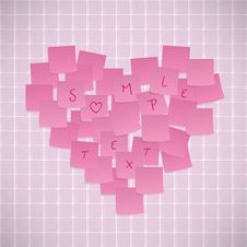 Pink Sticky Notes Shaped Into A Heart Stock Photography