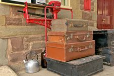 Old Suitcases And Kettle Stock Images