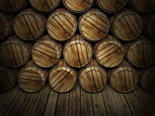 Free Wall Of Wooden Barrels Stock Photography - 20845142