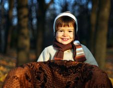 Little Boy In Park In Autumn Stock Images