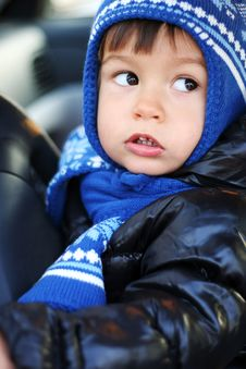 Little Boy In The Car Stock Photo