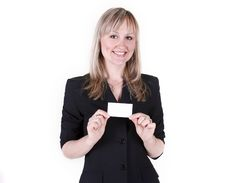 Free Businesswoman With A Business Card Stock Images - 20848244