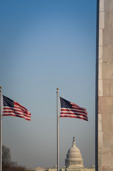 The Washington Monument And US Capitol Royalty Free Stock Images
