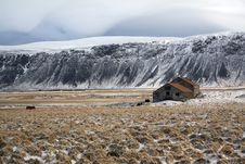 Lonely Farm In Iceland Landscape Royalty Free Stock Photo