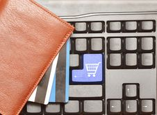 Keyboard Computer Button Shopping Cart Stock Photos
