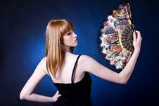 Free Beautiful Young Woman With A Fan Royalty Free Stock Photos - 20849658