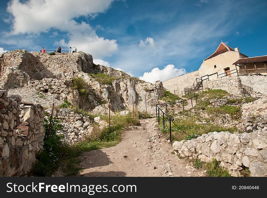 Ruins at the medieval fortress in Romania