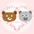 Free Bear And Lemur Face In Love Royalty Free Stock Images - 20850409