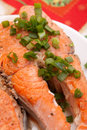 Free Plate With Tasty Salmon Garnished Stock Photo - 20853510
