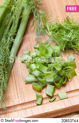 Free Dill, Parsley On Chopping Board Stock Images - 20853764