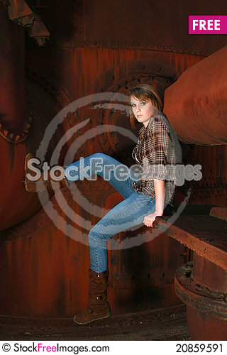 Free Young Woman Against Old Rusty Metal Stock Image - 20859591