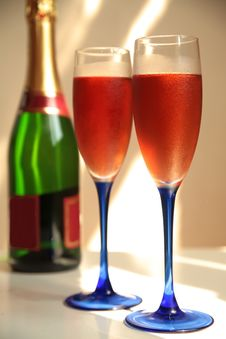Free Champagne In Glasses And Bottle. Stock Image - 20850291