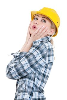 Free Girl With Hard Hat Royalty Free Stock Images - 20850299