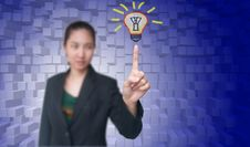 Business Women Get Idea With Light Bulb Royalty Free Stock Photography