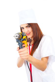 Free Mad Nurse Wants To Drill You Royalty Free Stock Photography - 20850767