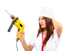 Free Mad Nurse Wants To Drill You Stock Photos - 20850773