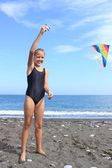 Girl Flies  Kite Royalty Free Stock Photography