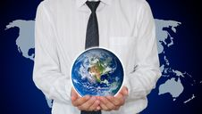 Businessman Holding Planet Earth Royalty Free Stock Photo