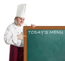 Free Male Chef Holding A Notice Board Royalty Free Stock Photography - 20852167