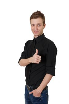 Happy Casual Young Man Showing Thumb Up Stock Image