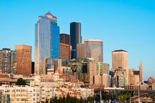 Free Downtown Seattle At Sunset. Royalty Free Stock Photo - 20852855