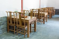 Free Chinese Wooden Tables And Chairs Interior Royalty Free Stock Photos - 20853258