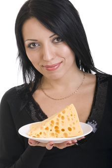 Free Young Woman Holding A Plate With A Slice Of Cheese Stock Image - 20853401