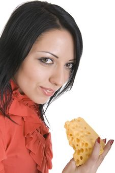Happy Brunette In Red With Slice Of Cheese In Hand Stock Photos