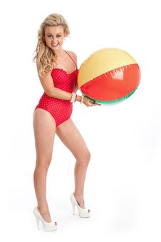 Pretty Young Female In Red Swimsuit And Inflatable Stock Images