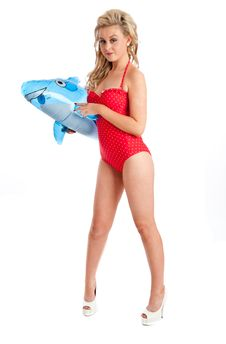 Free Pretty Young Female In Red Swimsuit And Inflatable Royalty Free Stock Image - 20853736