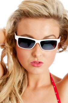Pretty Young Female In Red Swimsuit And Sun Glasse Stock Images