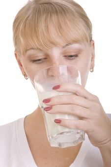 Blonde Girl Drinking Milk Stock Photo
