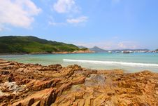 Beach With Rocky Shore In Hong Kong Stock Image