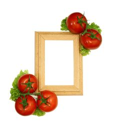 Free Wooden Frame And Frech Tomatoes Isolated On White Stock Photography - 20854032