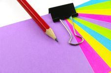 Free Color Notes Red Pencil And Clip Royalty Free Stock Photos - 20854038