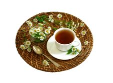 Free Cup Of Tea And Chamomiles Isolated On White Stock Images - 20854194