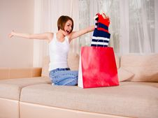 Free Young Female Is Satisfied With Her Purchase Stock Photos - 20854633