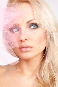 Free Face. Pink Lips. Decorative Pink Tree Lea Royalty Free Stock Photography - 20855127