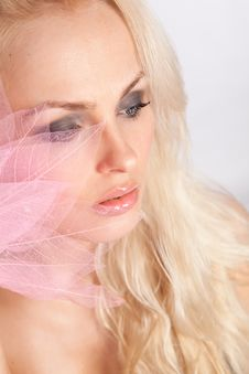 Free Face. Pink Lips. Decorative Pink Tree Lea Stock Image - 20855181