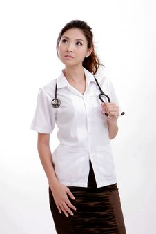Free Confident Young Physician Lady Wearing Stethoscope Stock Photos - 20855243