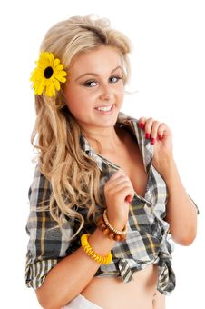 Pretty Blonde Female Posing In Shorts And Shirt Royalty Free Stock Image