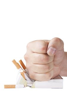 Free Man S Hand Crushing Cigarettes Stock Photos - 20855543