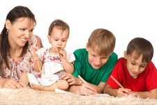Free Family Of A Four On Carpet Royalty Free Stock Images - 20856019