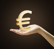 Free 3d Gold Euro Sign On A Hand Stock Images - 20858194