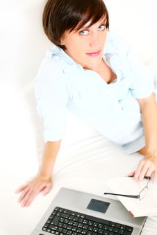 Beautiful Girl With Book And Laptop Royalty Free Stock Photo
