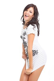Cute Brunette Laughing And Posing Stock Images