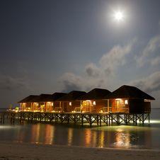 Free Maldives Villas. Night View. Stock Images - 20859064