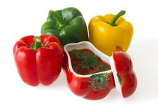 Free Colorful Bell Peppers With Red Ceramic Ornament Stock Photos - 20859513